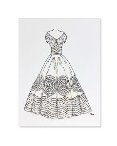 Jacqueline Bouvier Kennedy Wedding Gown Note Card