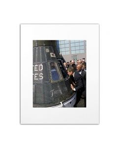 Matted Photo of President Kennedy with John Glenn and Friendship 7