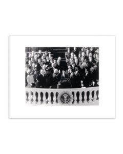 Matted JFK Inauguration Black and White Photo