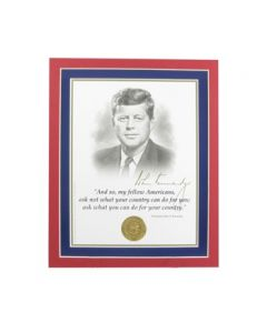 Matted JFK Portrait and Inaugural Quote