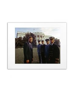 Matted Photo of President Kennedy with Service Academy Cadets