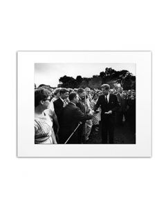 Matted Photo of JFK with Peace Corps Trainees