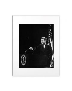 Matted Photo of JFK at Press Conference 1963