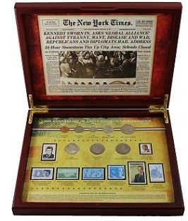 New York Times 50th Anniversary Of President Kennedys Inauguration Coin And Stamp Boxed Set